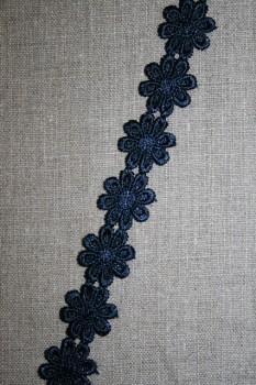 Rest Bånd med marguerit, mørkeblå, 26+75 cm.