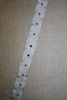 Grossgrain-bånd med hjerter og prikker lysegrå-sølv-sort