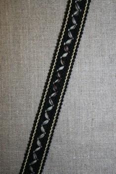 Bånd med agraman og zigzag, sort-beige-brun-aqua