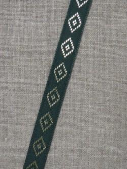 Bånd med rude i guld i mørk grøn
