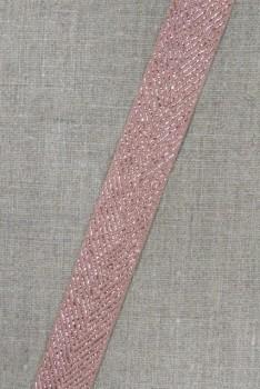 Grosgrainbånd med sildeben beige og kobber, 25 mm.