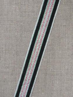 Stribet bånd med lurex, grøn/sølv- sort- rosa/kobber 25 mm.