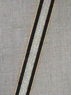 Stribet bånd med lurex, guld- grøn/sølv- sort 25 mm.