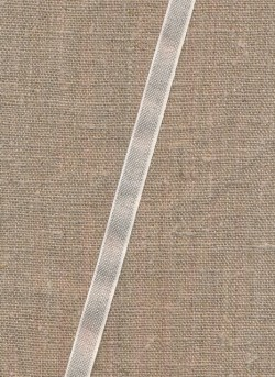 Hør bånd med offwhite kant, 10 mm.