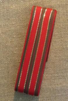 Vævet bånd i striber i rød, grøn og guld 12 mm. x 8 meter