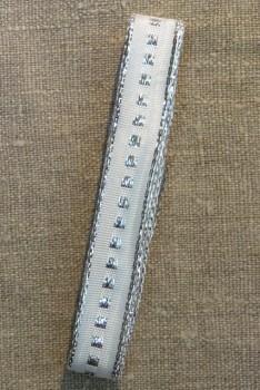 Vævet bånd i hvid med sølv firkant og kant 16 mm. x 3 meter