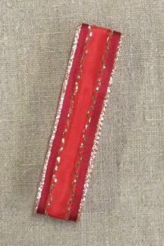 Vævet bånd i tern i rød med guld kant 25 mm. x 2½ meter