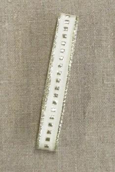 Vævet bånd i offwhite med guld firkant og kant 16 mm. x 3 meter