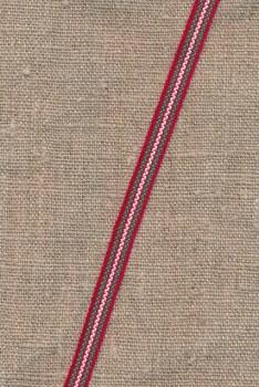 Smalt bånd stribet i rød, grøn og hvid 8 mm.