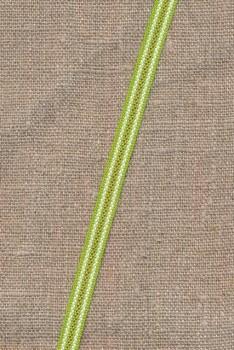 Smalt bånd stribet i lime, grøn og hvid 8 mm.
