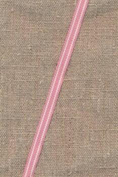 Smalt bånd stribet i rosa og hvid 8 mm.