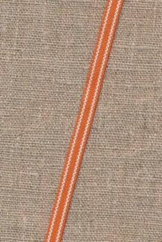 Smalt bånd stribet i støvet orange og hvid 8 mm.