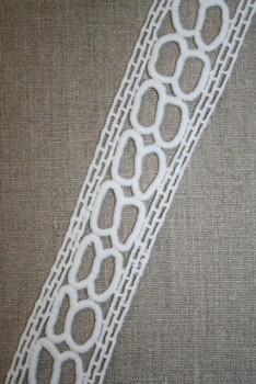 Rest Hvid blonde/bånd m/cirkler, 40 mm. 75 cm.