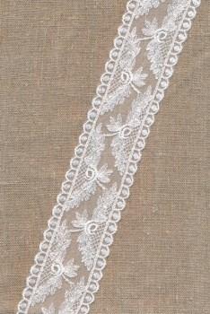 Spartel-/tyl blonde i knækket hvid, 50 mm.