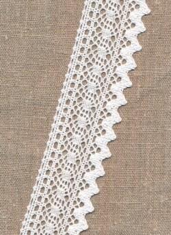 Bomulds-blonde i hvid med takket kant, 40 mm.