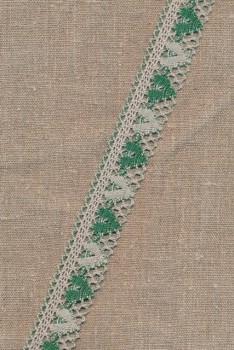Bomulds-blonde m/hjerter 28 mm. sand/grøn