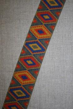 Elastik 50 mm. med rude-mønster grå-grøn - orange