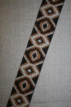 Elastik 50 mm. med rude-mønster mørkebrun - lysebrun