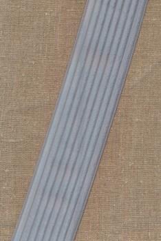 Elastik til bælter 60 mm. lys sølv-grå