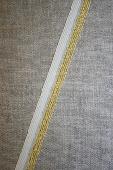 Foldeelastik m/lurex, hvid/guld