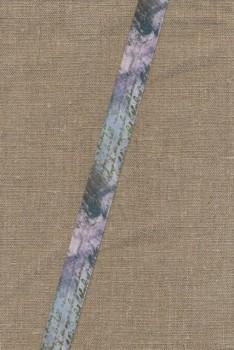 Foldeelastik med mønster og tekst, blå lilla