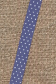 Foldeelastik med stjerner i blå-lavendel og hvid