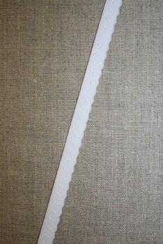 Foldeelastik med buet kant og prik, hvid