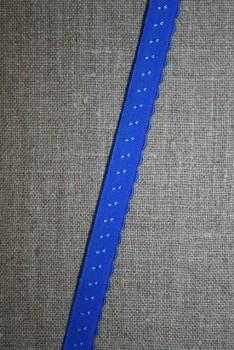 Foldeelastik med buet kant og prik, kobolt blå