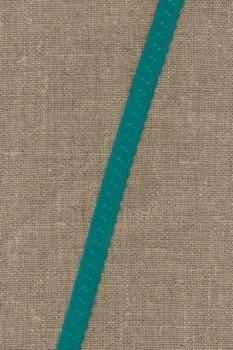 Foldeelastik med buet kant og prik, irgrøn