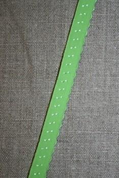 Foldeelastik med buet kant/prik, lime