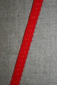Foldeelastik med buet kant og prik, rød