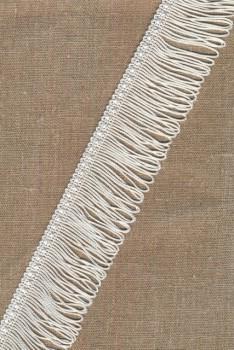 Frynsebånd dobbel 50 mm. i hvid