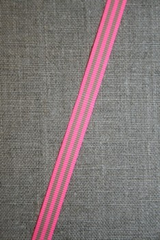 Grosgrainbånd stribet neon pink og beige 9 mm.