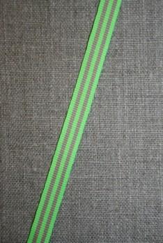 Grosgrainbånd stribet neon lime/beige 9 mm.