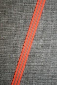 Grosgrainbånd stribet neon orange/beige 9 mm.