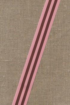 Bånd grosgrain stribet rosa brun