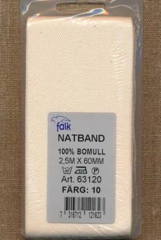 Gjordbånd/natbånd sildebensvævet i off-white 60 mm. x 2,5 meter