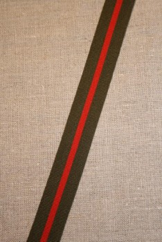 Grosgrainbånd stribet army og rød