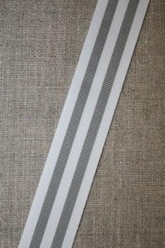 Bånd grosgrain stribet lysegrå hvid