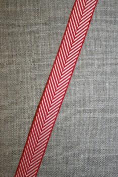 Grosgrainbånd med sildeben rød og hvid