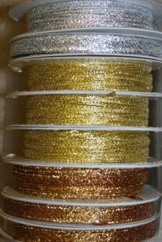 10 meter rulle Lamebånd 3 mm. sølv - gl. guld - kobber