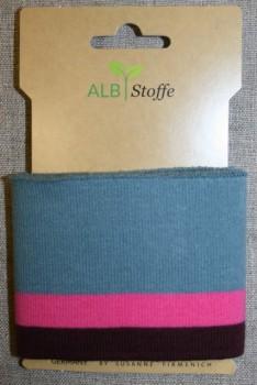 Ribkant stribet støvet blå, pink og bordeaux 70 mm x 110 cm.
