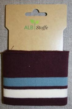 Ribkant stribet rød-brun, støvet blå og off-white 70 mm x 110 cm.