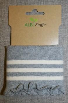 Ribkant med college striber og flæse lysegrå og off-white 80 mm x 110 cm.