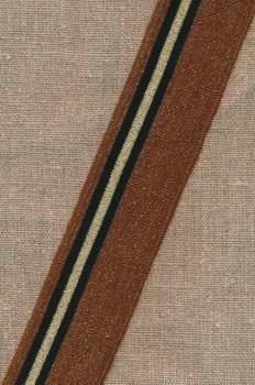 Ribkant stribet i kobber guld sort 40 mm x 125 cm.