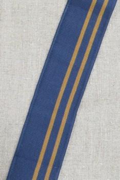 Ribkant stribet i støvet mørkeblå og gylden 60 mm x 102 cm.
