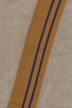 Ribkant stribet i gylden og støvet mørkeblå 60 mm x 102 cm.