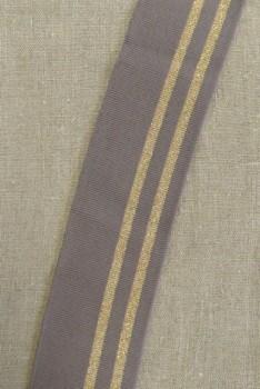 Ribkant stribet i gråbrun og kobber/guld 65 mm x 99 cm.