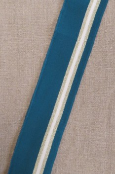 Ribkant stribet i petrol, hvid, guld 60 mm x 110 cm.