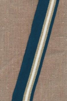 Ribkant stribet i petrol, hvid, guld 40 mm x 150 cm.